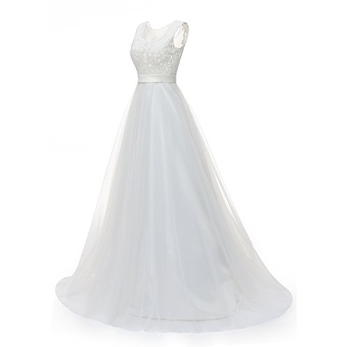 Molixin Women's Plus Size Wedding Dresses Round Neck Bridal Gowns Outdoor Prom Dress