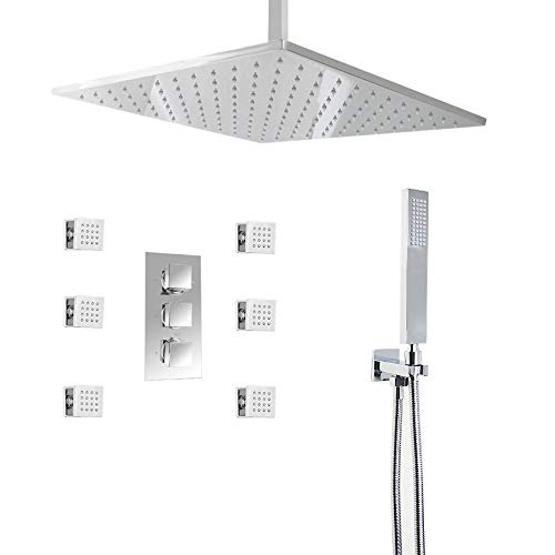 (HOMEDEC Thermostatic LED 16inch shower Faucet with 6 Body Sprays  Bathroom Shower System with Hand Shower, Square Fixed Shower Head)