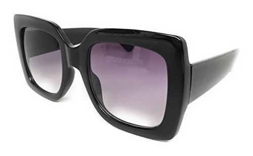 My Shades(TM) - Designer Inspired Oversize Glitter Sparkle Square Frame Sunglasses (Black Solid / Purple - Oversize Women