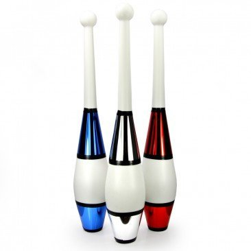 Juggling Clubs Set of 3 - One-piece Euro Style with Decorative Metallic Finish by Juggle Dream (Image #1)