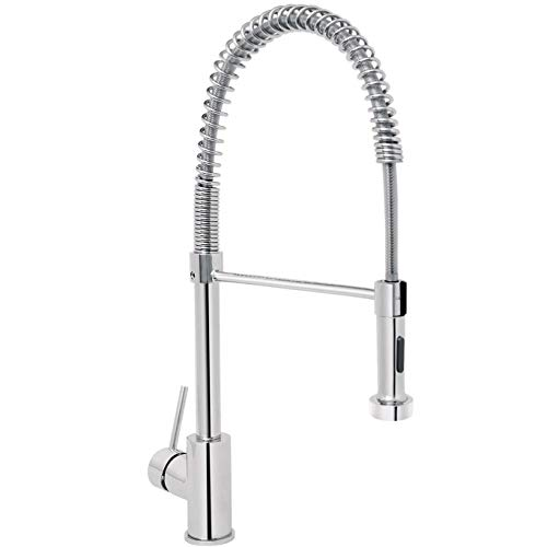 KAIMA Stainless Steel Spring Pull Down Sprayer Kitchen Faucet Single Handle Pull Down Sink Faucet Lead Free Modern Upgrade Chrome ()