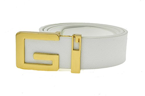 Moraner 2016 New Arrival Male Cowskin Leather Belt Casual Solid Gold G Buckle Belt for Men (120cm, white)
