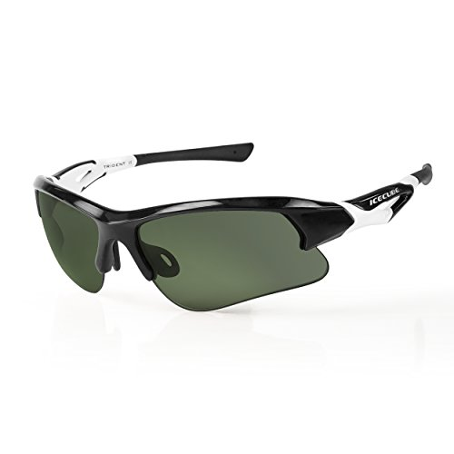 - ICECUBE Asian Fit Photochromic Polarized Sports Sunglasses | Men or Women| UV Protection | TR90 Ultra Light | Suitable for Running, Driving, Beach, Fishing - TRIDENT (BLK/WHT, Golf Green)