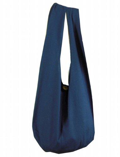 BTP! Thai Monk Buddha Cotton Sling Crossbody Messenger Bag Purse Hippie Hobo Solid Large (Navy Blue XL10)