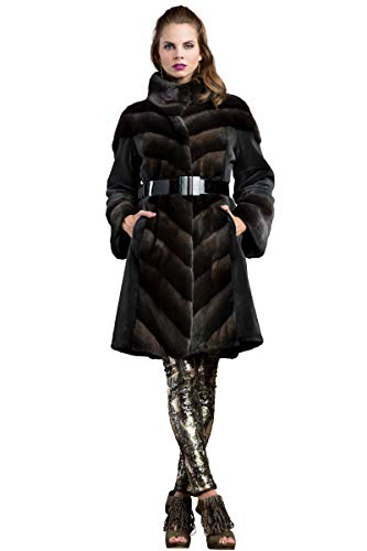 Anamoda Women's Roman Silver Dyed Sheared and Cross Mink Mid-Length Fur Coat
