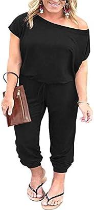 Nemidor Women's Off The Shoulder Elastic Waist Casual Jumpsuit Short Sleeve Plus Size Long Jumpsuits with