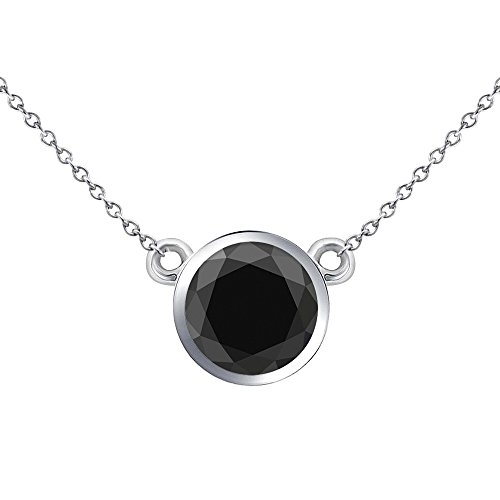 (0.50 Carat Natural Real Black Diamond Bezel Setting Solitaire Pendant Necklace With Chain 14K White Gold)