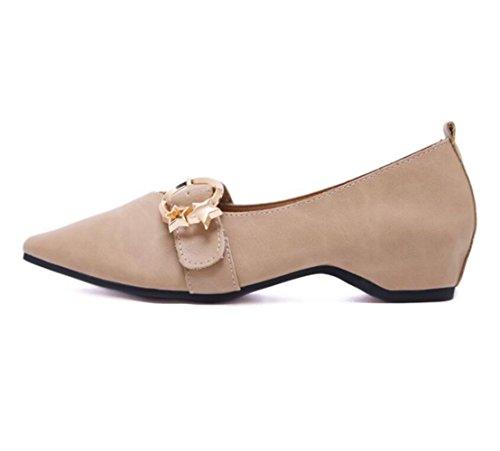 PU Boca Solos Nuevos Puntiaguda Beige Artificial Ladies Zapatos Womens Baja Punta LINYI UqvXHH