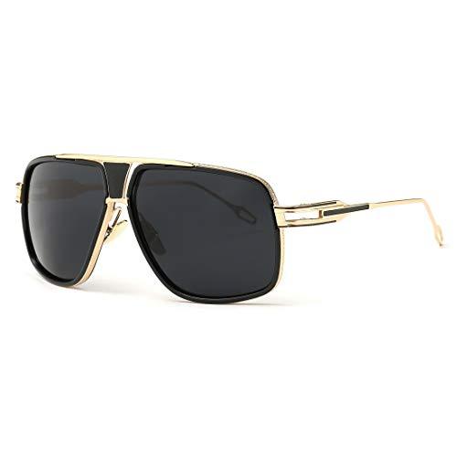 Black Goggles Classic - Sunglasses for Men Gold Square Frame with Black Lens Classic Goggle Retro Brand Designe