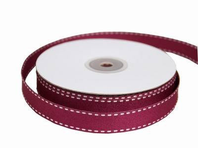 "Tableclothsfactory 5/8"" Grosgrain Ribbon with Stitched Edges-Burgundy"