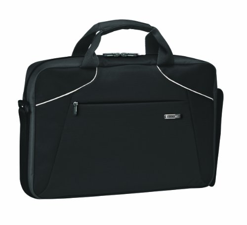 (Solo Vector Collection Laptop Slim Brief Case Holds Notebook Computer up to 16 Inches, Black with White Accents, VTR371-4/28)