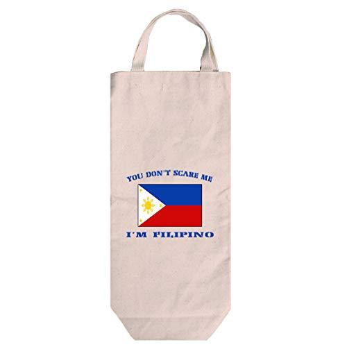 You Don't Scare Me I'm Filipino Cotton Canvas Wine Bag Tote With Handles - Filipino Tote Bag