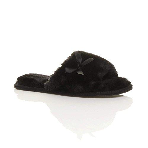Noir Pantoufles Confortable En Ajvani Dames Slip Luxe Fourrure Peep Faux Toe Bow Femmes Sur De Fourrure Plat De Fourrure Taille THgSTw