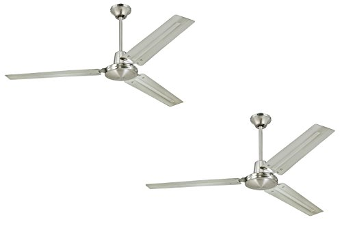 Ciata Lighting Industrial 56-Inch Three-Blade Indoor Ceiling Fan, Brushed Nickel with Brushed Nickel Steel Blades Brushed Nickel 2 Pack