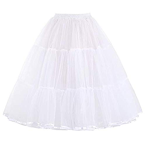 Summer Petticoats Puffy Tulle Skirt Retro Vintage Dress Underskirts Women Hoops Plus Size Dance Crinoline Petticoat 2018 (White, S) ()