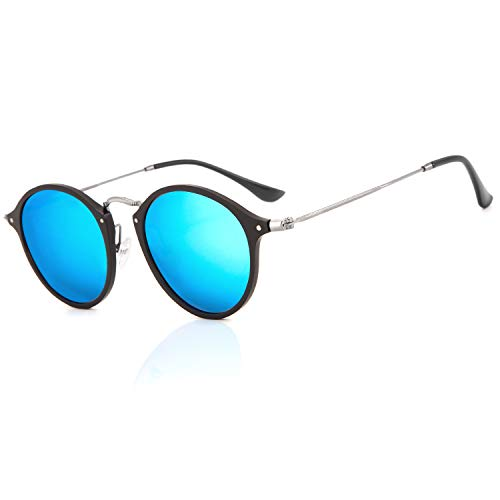 SG TZH Round Polarized Sunglasses for Women/Men, Small Circle Glasses with Unbreakable Al-Mg Frame, Vintage UV400 Sunglasses ()