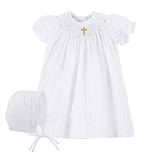 Carriage Boutiques Smocked Dress - Baby Girls Hand Smocked Christening Baptism Dress w Bonnet- Gold Cross,12M