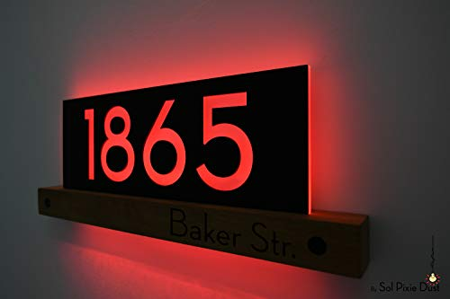 Modern House Numbers LED 5V - African Teak Iroko wood & Black Face - Contemporary Home Address - Modern House Plaque sign