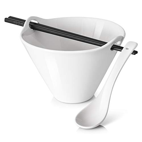 DOWAN 20 oz Ramen Bowl Set with Matching Spoon and Chopsticks, Soup Bowl for Pho, Ramen Noodle, And Miso Soups, 2 Packs, White, 6.5 inches