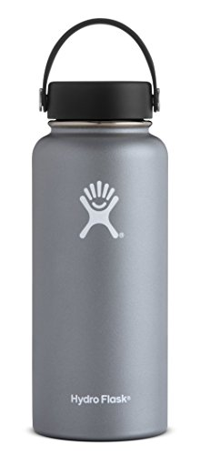 Hydro Flask 64 oz Water Bottle | Stainless Steel & Vacuum Insulated | Wide Mouth with Leak Proof Flex Cap | Graphite