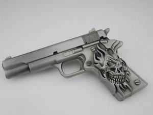 Silver New Army Pistol 9Mm Skull Handgun Belt Buckle (Buckle Gun Belt)