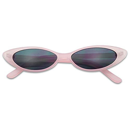 Mini Vintage Retro Extra Narrow Oval Round Skinny Cat Eye Sun Glasses Clout Goggles (Pastel Pink Frame | ()