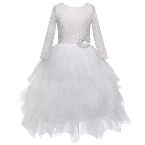 Little Big Girl Flower Lace A-line Party Dresses Tutu with lace Ribbon Bridal Dress for Toddler Girl 3long-Sleeve white3, 5-6 -