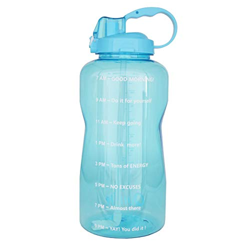- BuildLife Motivational Gallon Water Bottle 128OZ with Unique Timeline/Measurements/Goal Marked Times for Measuring Your Daily Water Intake, Large BPA Free Non-Toxic Water Jug (128OZ, 128OZ-Light Blue)