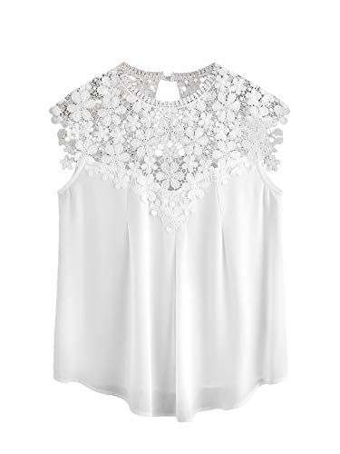 Milumia Women's Keyhole Back Daisy Lace Shoulder Shell Top White Small