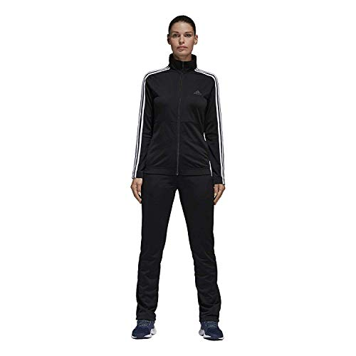 adidas Women Track Suit Back to Basics Training 3-Stripes Black Gym New BK4674 (L) -