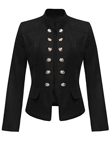 ELESOL Women's Vintage Button Front Open-Front Blazer Black (Two Button Vintage Coat)