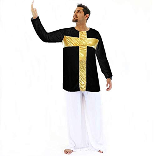 (Danzcue Praise Cross Boys Inspired Pullover Dance Top, Black-Gold, L-XL)