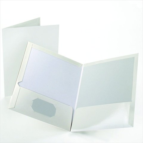 Esselte Presentation Folders - Oxford 029540 Folder Twin Pocket Laminated White Pack Of 25