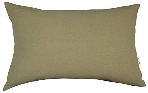 "TangDepot Decorative Handmade Solid Cotton Throw Pillow Covers, Super Soft Pillow Shams, Rectangle Shells, Decorative Cushion Cover - (12""x18"", Vintage Khaki)"