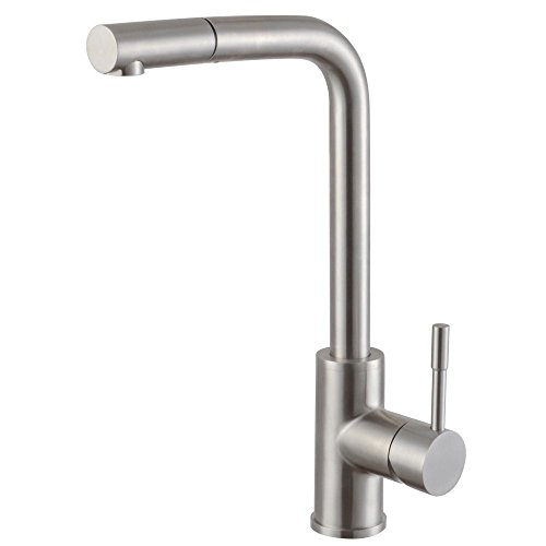 Pull Out Spout Hose (KES Stainless Steel Pullout Kitchen Faucet Modern Single Large Tall Commercial Pull Down Bar Sink Faucet with Swivel High Arc Gooseneck Pull Out Sprayer Head Brushed Finish, L6953LF-2)