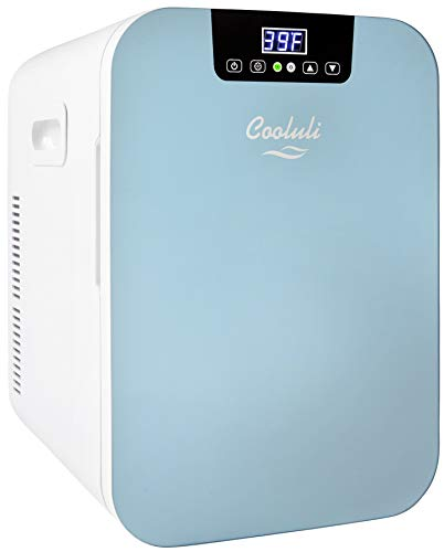 Cooluli Concord Blue 20 Liter Compact Cooler Warmer Mini Fridge for Bedroom, Office, Car, Dorm – Portable Makeup Skincare Fridge with Digital Temperature Control