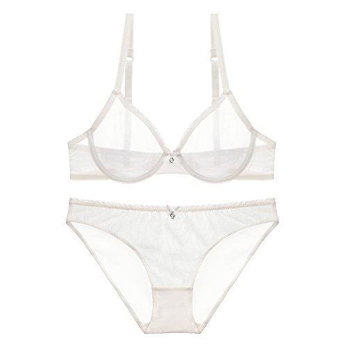 Aimyslure Women Plus Size See Through Bra and Panty Set Underwire Supportive Unlined Lingerie Set for Sex 40D White