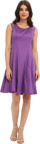 Nine West Women's Sleeveless Fit-and-Flare Dress,Purple Orchid,4