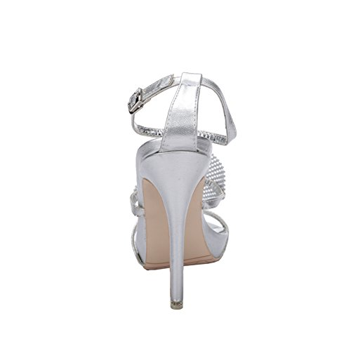 Donna Sexy Open Toe Stiletto Sandalo Elegante Abito Da Sera Cinturino Alla Caviglia Con Diamante Argento