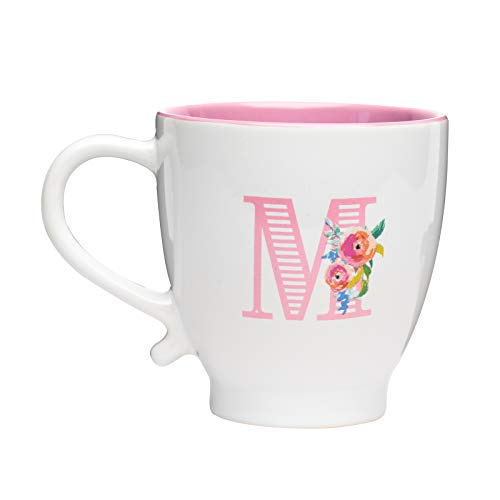 Amici Home Monogram Floral M Coffee Mug, Glazed Ceramic Drinkware with Painted Initial Letter Insignia, 20 Ounce Capacity