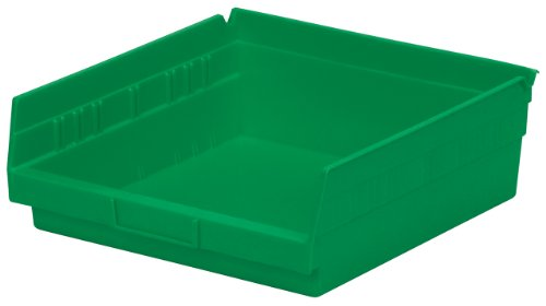 Akro-Mils 30170 12-Inch by 11-Inch by 4-Inch Plastic Nesting Shelf Bin Box, Green, Case of 12 ()