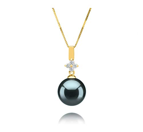 Hilda Black 10-11mm AAA Quality Tahitian 14K Yellow Gold Cultured Pearl Pendant For Women