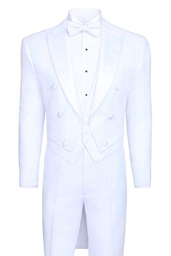 Peak Tailcoat - Tailcoat Tuxedo in White, Includes Tailcoat & Tuxedo Pants - White, 40 Regular