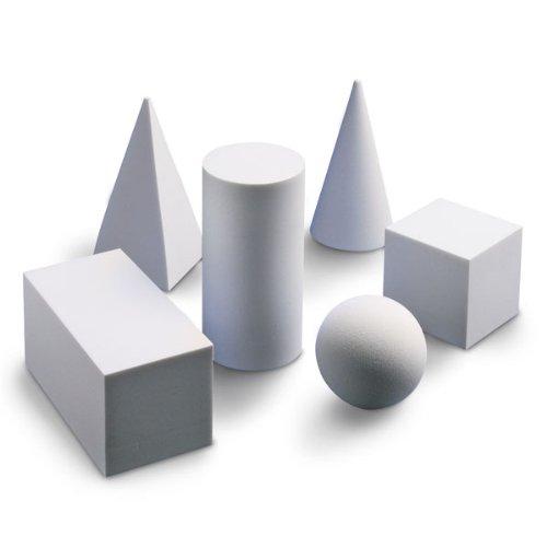 Nasco 9725407 Foam Geometric Solids Set, Six-Piece, White by Nasco