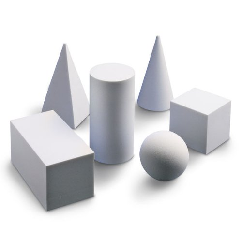 Nasco 9725407 Foam Geometric Solids Set, Six-Piece, White