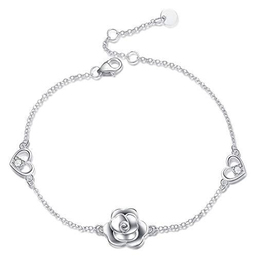 (Rose Braceltes Sterling Silver Adjustable Rose Flower Bracelets for Women Teen Girls Love Heart Chain Link Rose Bracele)