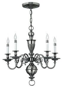 Hinkley 4415PW Traditional Five Light Foyer from Cambridge collection in Pwt, Nckl, B/S, (Traditional Foyer Lights Hinkley Lighting)