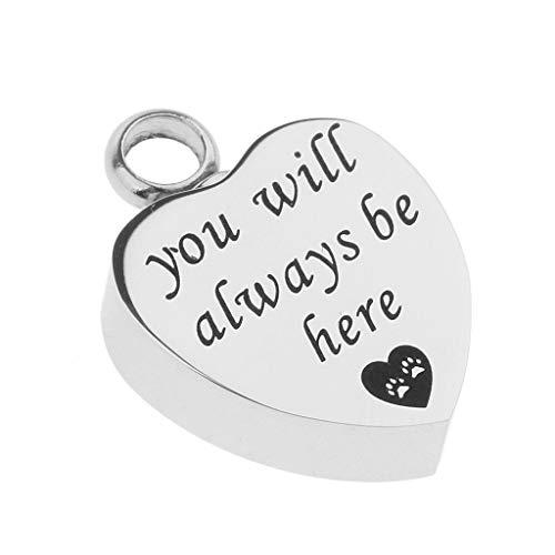Waterproof Stainless Steel Heart Memorial Keepsake Dog Paw Heart Pet Urn Pendant Necklace Jewelry Crafting Key Chain Bracelet Pendants Accessories Best| Item - You Will Always be - Bat Pendant Yankees