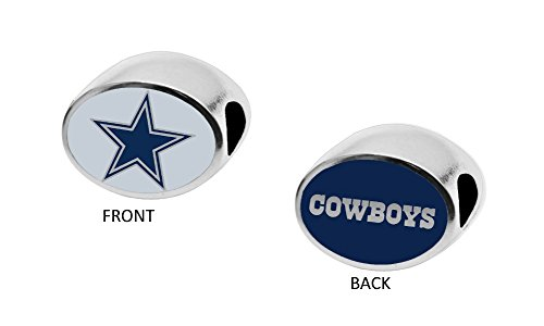 Final Touch Gifts Dallas Cowboys 2-Sided Bead Fits Most Bracelet Lines Including Pandora, Chamilia, Troll, Biagi, Zable, Kera, Personality, Reflections, Silverado and More]()