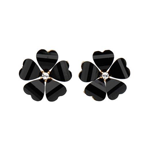Flower Stud Earring Lucky Clover Crystal Bead Heart Polish Petal Earring Jewelry Alloy Vintage Geometric Pendant Earring for Women Girl Summer Vacation (black)
